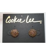 Cookie Lee Topaz Crystal Round Button Pierced Earrings -NEW-  J188 - $10.00