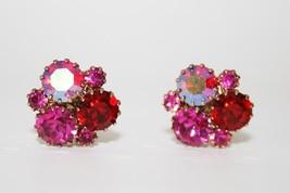Vintage Sparkling Pink Red Crystal Cluster Clip Earrings J152 - $34.00