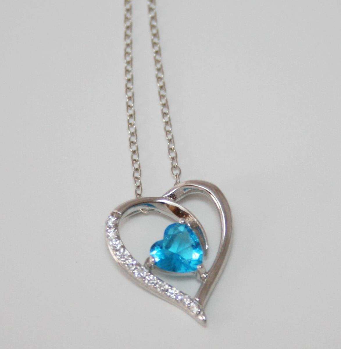 Silver Tone Chain Necklace with Aqua CZ Heart Pendant NEW  J227