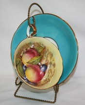 Aynsley C439 Signed D Jones Turquoise, Yellow, Gold, Fruit Tea Cup & Sau... - $80.00