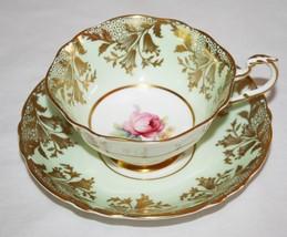 Paragon A391 Mint Green, Gold, Pink Rose Tea Cup & Saucer Set - $80.00