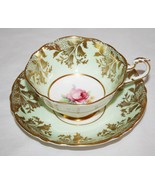 Paragon A391 Mint Green, Gold, Pink Rose Tea Cup & Saucer Set - $80.00