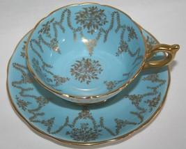 Coalport Blue Garland Tea Cup & Saucer Set Gold Trim - $40.00