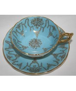 Coalport Blue Garland Tea Cup & Saucer Set Gold Trim - $40.00