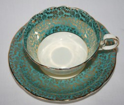Aynsley England Bone China C563 Turquoise and Gold Chintz Tea Cup & Sauc... - $44.00