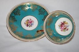 Aynsley C882 Turquoise Floral Bouquet Gold Trim Tea Cup & Saucer Set - $45.00