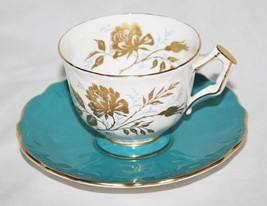 Aynsley England 2733 White, Turquoise and Gold Floral Tea Cup & Saucer Set - $40.00