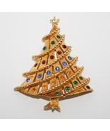 Unmarked Gold Toned Christmas Tree Brooch Pin with Rhinestones J200 - $12.00