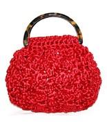 MARILYN PIVNICK Bright Red Woven Handbag Tortoise Lucite Handles  #103 - $64.00