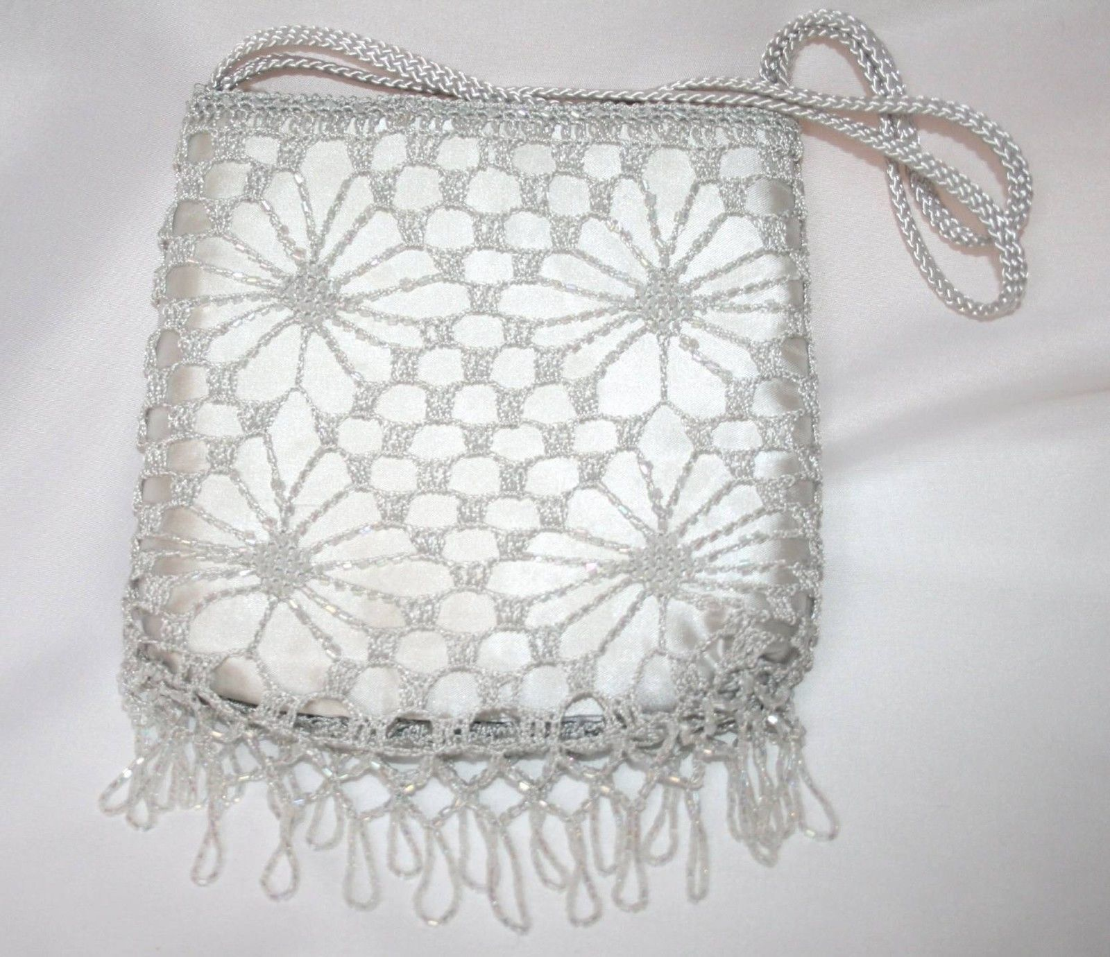 Vintage Silver Crochet and Beaded Handbag   #1477