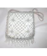 Vintage Silver Crochet and Beaded Handbag   #1477 - $35.00