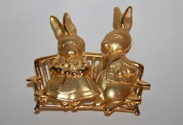 Vintage Signed JJ Jonette Jewelry Gold Toned Bunny Rabbit Pin Brooch  J2... - $18.00