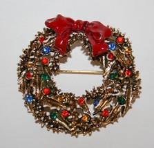 Vintage ART Multi-Colored Rhinestone Wreath Brooch   J205 - $18.00