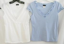 -2- Cosabella Italy Cotton Spandex  White & Blue Sleep Tops M  #1874 - $20.00