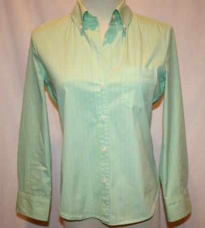 THEORY Lime Green & Periwinkle Blue Stripe Shirt Small   #860