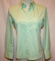 THEORY Lime Green & Periwinkle Blue Stripe Shirt Small   #860 - $34.00