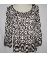 Joie Brown Cream Print Rayon Back Tie Blouse Small EUC   #1857 - $54.00