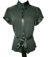 BEBE Black Stretch Crepe with Satin Trim Blouse Top Small   #1033 - $59.00