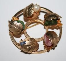 Vintage Sarah Coventry Round Wreath Pearl & Gemstone Leaf Brooch  J198GS - $24.00