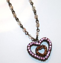 Seasonal Whispers Handmade Reversible Swarovski Heart Necklace J95 - $75.00