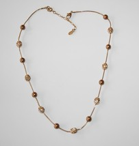 """Monet Gold Tone Copper Faux Pearl Champagne Crystal 16"""" - 18"""" Necklace  ... - $35.00"""