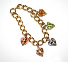 MURANO Glass Multi-Colored Heart Charm Gold Tone Bracelet       J101 - $45.00