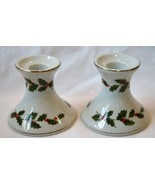 LEFTON China 1985 Numbered Holly Candle Holders Set   #390 - $38.00