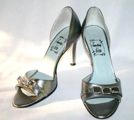 SOMETHING BLEU ITALY Metallic Silver Heel Sandal Size 7 B {789}