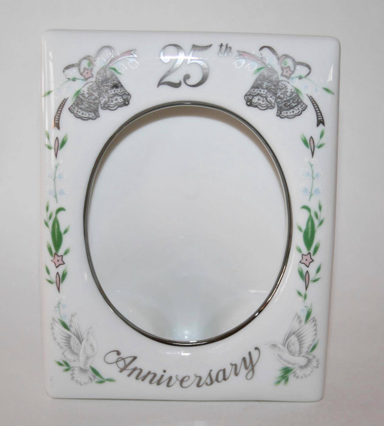 1984 Lefton China 25th Wedding Anniversary Photo Frame Never Used #1616