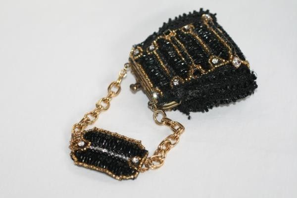 LISA MARINUCCI Collection Austrian Jet Crystal Black Beaded Wristlet   #424