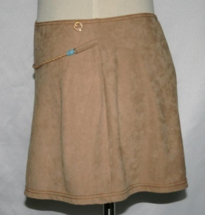 MORGAN DE TOI Ultra-Suede Beige Camel Stretch Mini Skirt Small     #847