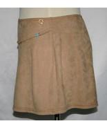 MORGAN DE TOI Ultra-Suede Beige Camel Stretch Mini Skirt Small     #847 - $32.00