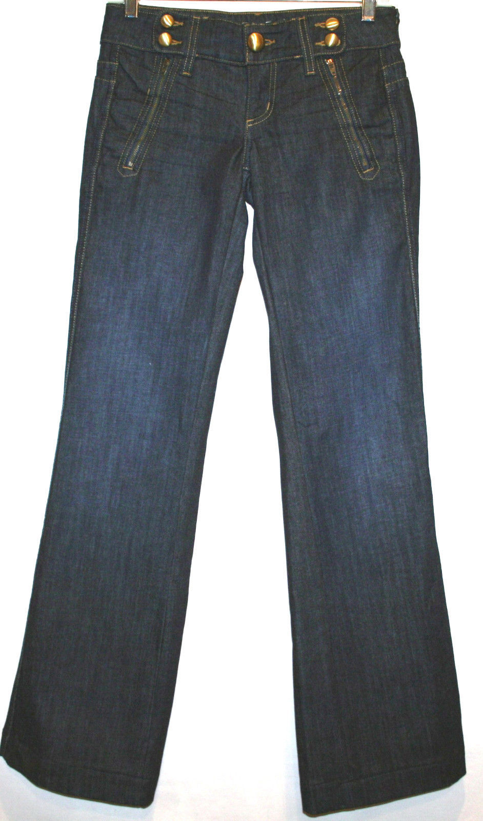 Primary image for JUICY COUTURE Dark Wash Low Rise Boot Cut Jeans Wide Waistband Size 25   #624