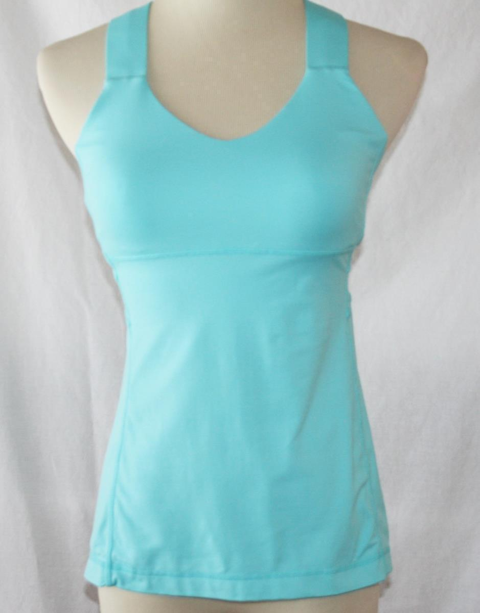 Lululemon Turquoise Nylon Spandex Crossback Tank Top with Shelf Bra SZ 6  #2009