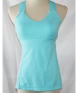 Lululemon Turquoise Nylon Spandex Crossback Tank Top with Shelf Bra SZ 6... - $48.00
