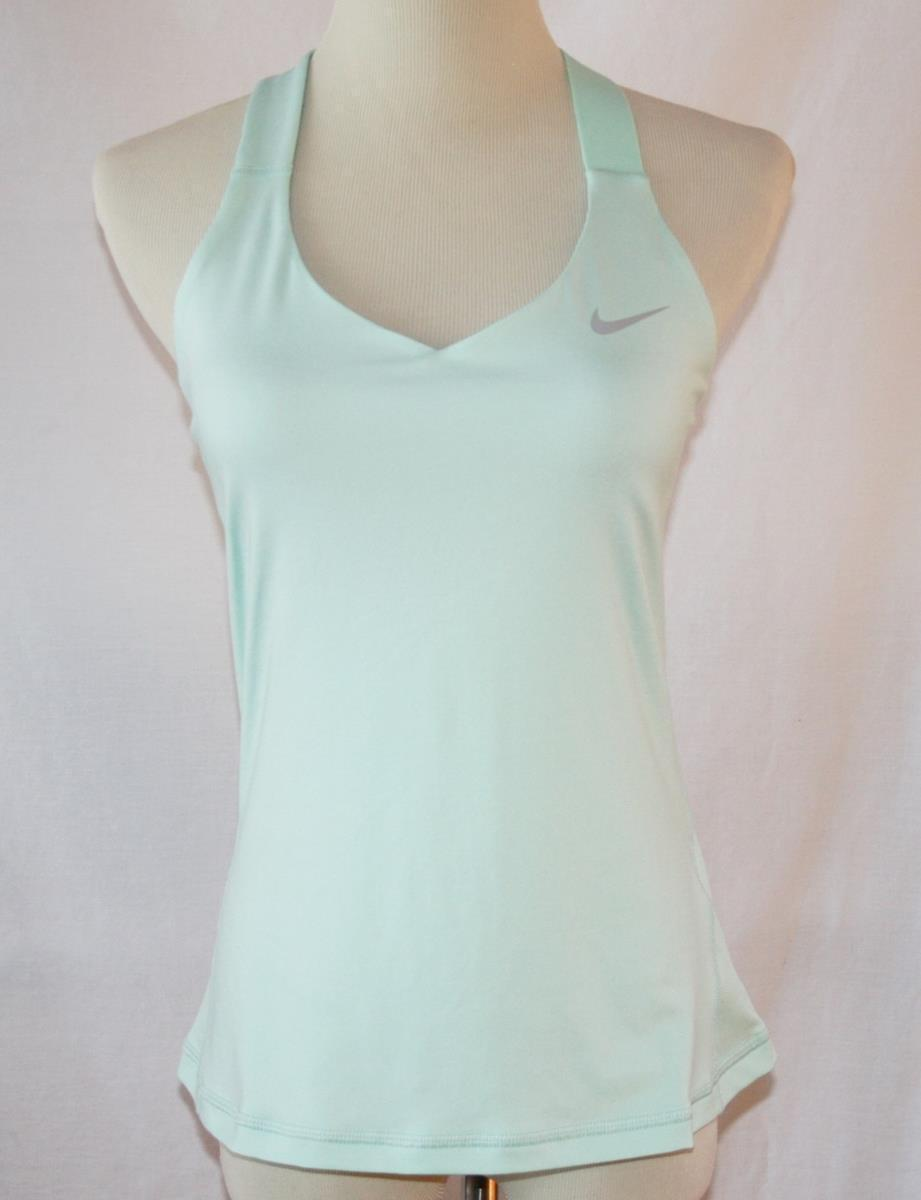 Nike Dri-Fit Mint Spandex Tank Top with Shelf Bra Medium  #2010
