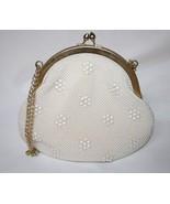 Vintage Cream Beaded Handbag with Gold Trim   #1478 - $35.00