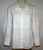 Linea Louis Dell'olio 3/4 Sleeve Blouse Small White D241 - $20.00