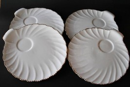 Gladstone Bone China England Old Grecian Flute White Gold -4- Snack Plat... - $40.00
