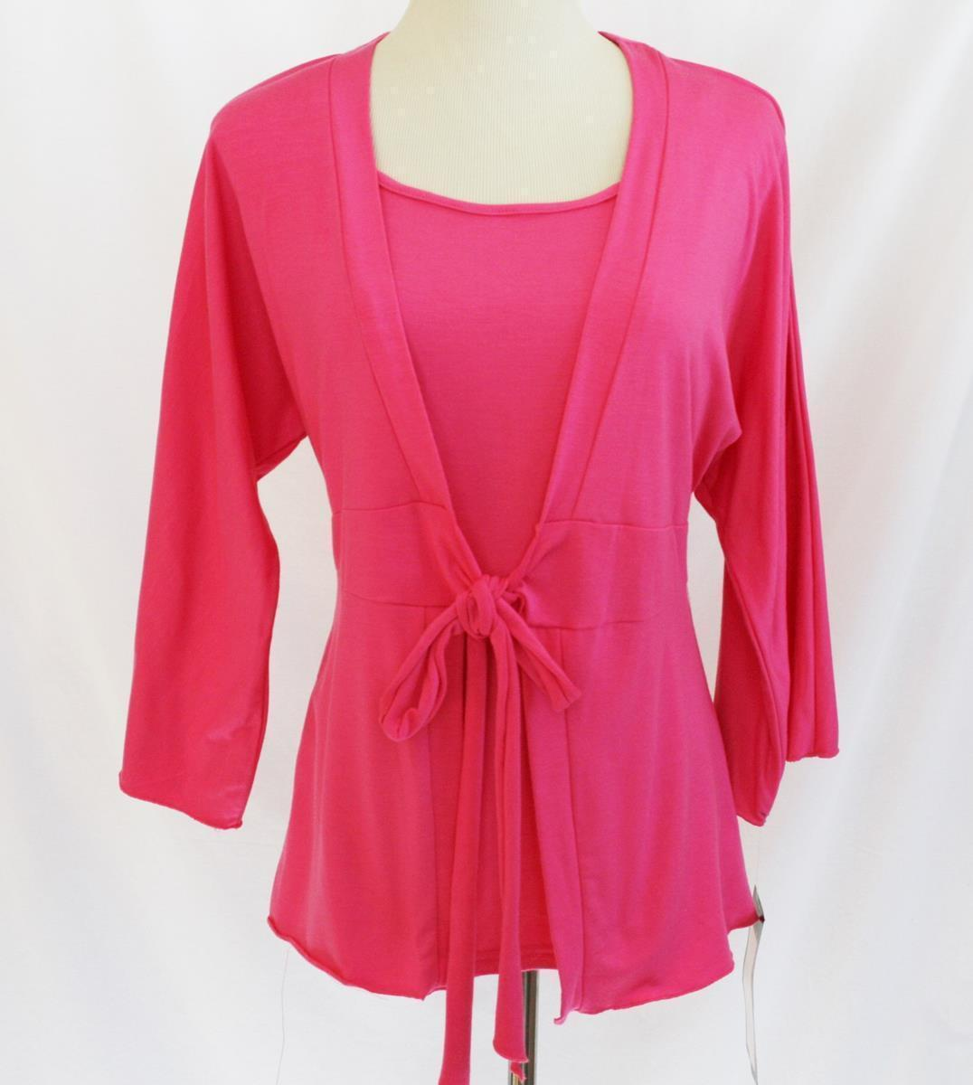 Alexis & Avery Hot Pink Tie Front Layered Look Top Medium     #1877