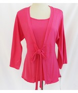 Alexis & Avery Hot Pink Tie Front Layered Look Top Medium     #1877 - $30.00