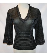 Missoni Italy Sheer Black Silver Metallic Blouse Top Size 38, US 2  #1846 - $225.00