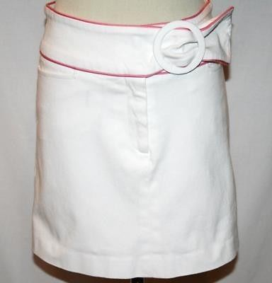 ROBIN NAYLOR BAY HEAD White & Pink Mini Skirt Size 2   #1036