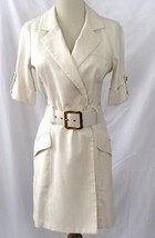 MILLY Jackie Belted Shirt Dress Natural Ivory Textured Silk  Size 2 EUC ... - $199.00