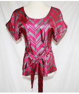 Madison Marcus Hot Pink Grey 100% Silk Belted Top Blouse Small   #1887 - $38.00