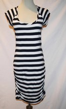 Tommy Hilfiger Navy White Striped Lined Ruched Dress Small/Petite  #1849 - $40.00