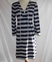 Sweet Pea Stacy Frati Navy Gray Striped 3/4 Sleeve Dress Small  #1852 - $48.00