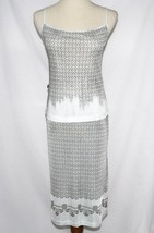 CAVALLI ITALY Slinky Stretch Knit Grey Silver Dress Skirt & Tank Top Size 8 - $124.00