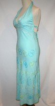 DEBBIE KATZ South Beach Rayon Turquoise Embroidered Halter Dress Small  ... - $109.00