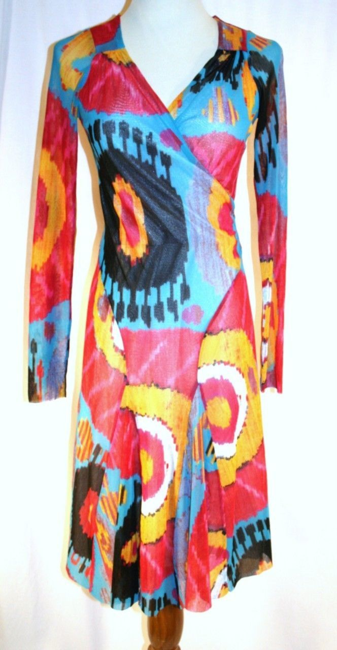 FUZZI S.P.A. Italy Multi-Colored Stretch Wrap Nylon Dress Small   #864